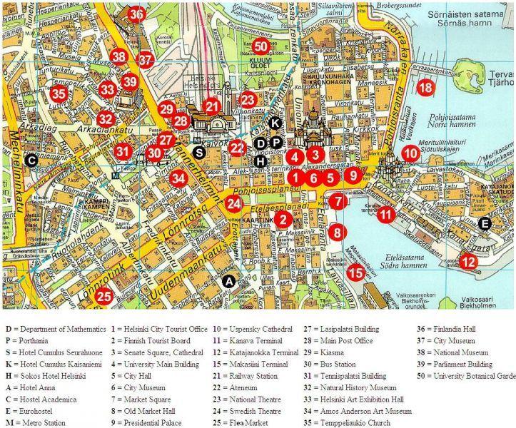 достопримечательности хельсинки на карте